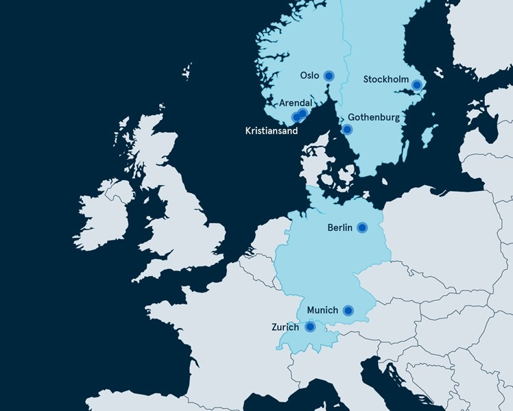 Offices in eight European cities